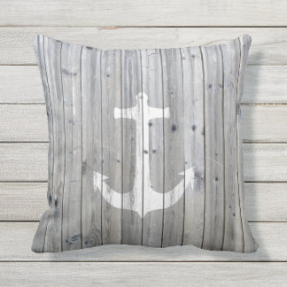 Hipster Vintage White Nautical Anchor on Gray Wood Throw Pillow