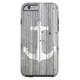 Hipster Vintage White Nautical Anchor on Gray Wood Tough iPhone 6 Case