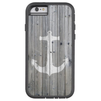 Hipster Vintage White Nautical Anchor on Gray Wood Tough Xtreme iPhone 6 Case