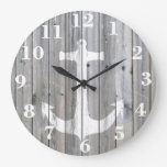 Hipster Vintage White Nautical Anchor on Gray Wood Wall Clock
