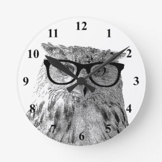 Hipster wall clock   Geeky owl with glasses