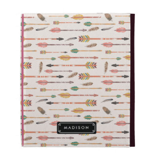 Hipster Watercolor Arrows & Feathers Personalized iPad Folio Cases