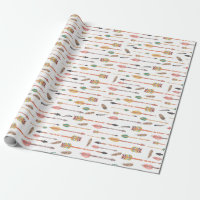 Hipster Watercolor Arrows & Feathers Wrapping Paper