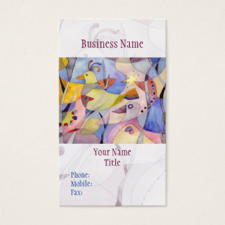 Hipster Watercolor Birds Business Cards