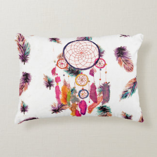Hipster Watercolor Dreamcatcher Feathers Pattern Accent Pillow