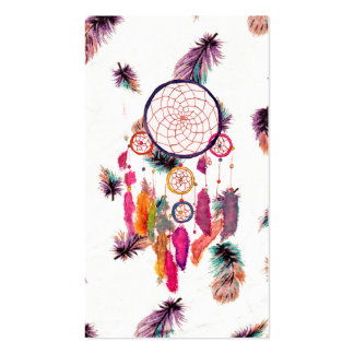 Hipster Watercolor Dreamcatcher Feathers Pattern Business Card
