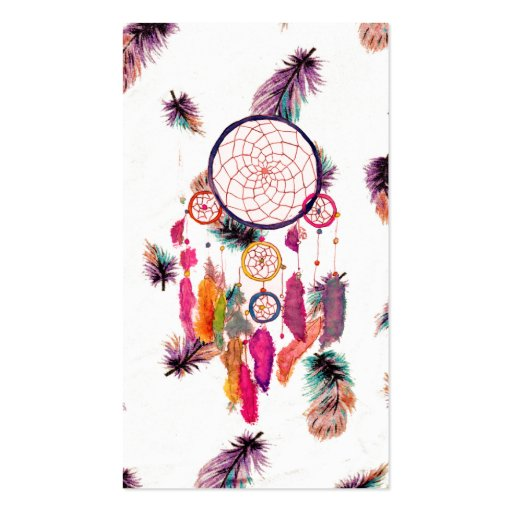 Hipster Watercolor Dreamcatcher Feathers Pattern Business Card Template