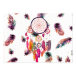 Hipster Watercolor Dreamcatcher Feathers Pattern Business Card Templates