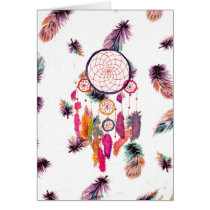 Hipster Watercolor Dreamcatcher Feathers Pattern Card