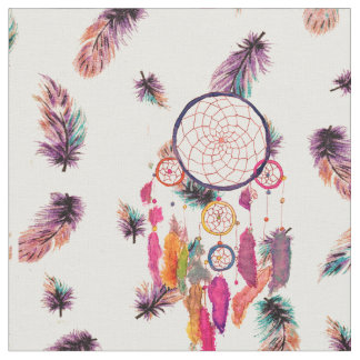 Hipster Watercolor Dreamcatcher Feathers Pattern Fabric