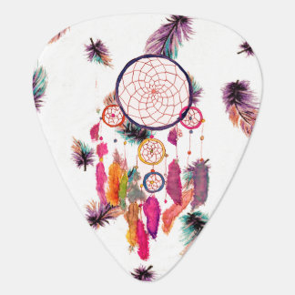 Hipster Watercolor Dreamcatcher Feathers Pattern Guitar Pick