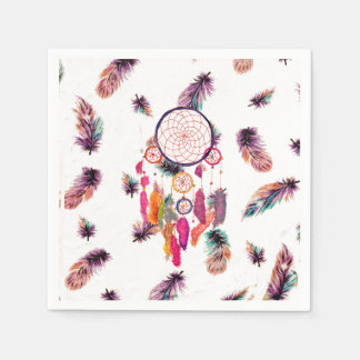 Hipster Watercolor Dreamcatcher Feathers Pattern Paper Napkin