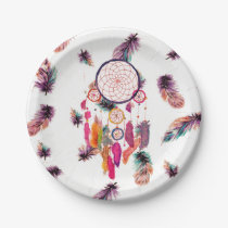 Hipster Watercolor Dreamcatcher Feathers Pattern Paper Plate