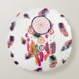 Hipster Watercolor Dreamcatcher Feathers Pattern Round Pillow