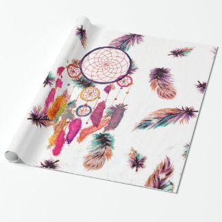 Hipster Watercolor Dreamcatcher Feathers Pattern Wrapping Paper