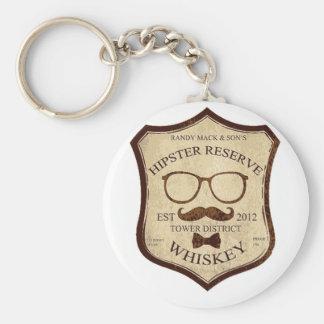hipster whiskey logo keychains