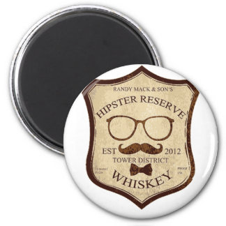 hipster whiskey logo 2 inch round magnet