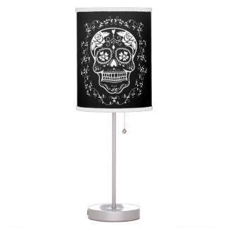 Hipster White Sugar Skull with Black Desk Lamps
