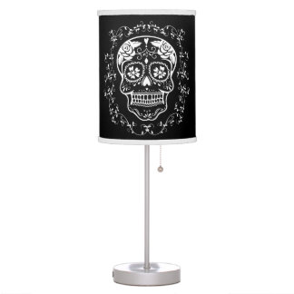 Hipster White Sugar Skull with Black Table Lamp