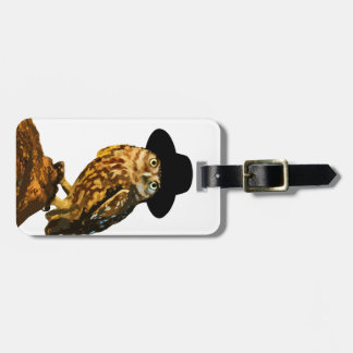 hipster wise owl sticker luggage tag