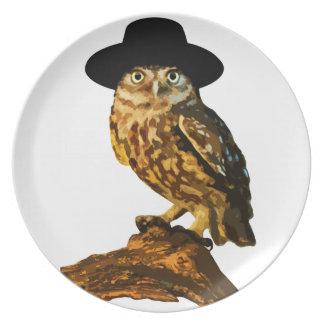hipster wise owl sticker melamine plate