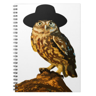 hipster wise owl sticker notebook