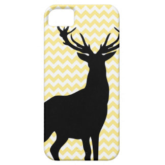 Hipster Yellow Chevrons with Deer Silhouette iPhone SE/5/5s Case