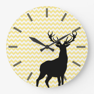 Hipster Yellow Chevrons with Deer Silhouette Large Clock