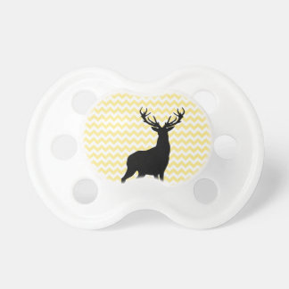 Hipster Yellow Chevrons with Deer Silhouette Baby Pacifier