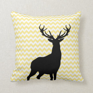 Hipster Yellow Chevrons with Deer Silhouette Pillow