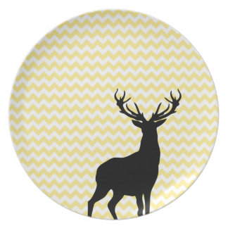 Hipster Yellow Chevrons with Deer Silhouette Plate