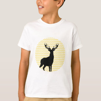 Hipster Yellow Chevrons with Deer Silhouette T-Shirt