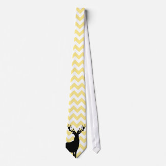 Hipster Yellow Chevrons with Deer Silhouette Tie