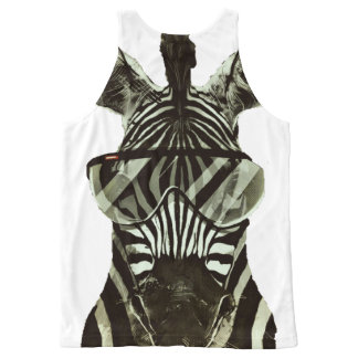 Hipster Zebra All-Over-Print Tank Top