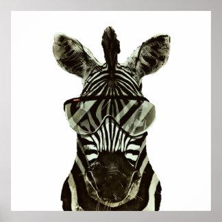 Hipster Zebra Poster