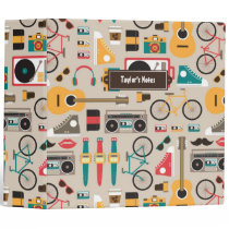 Hipsterrific Hipster Things Pattern (Cinereous) Binder