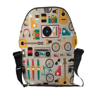 Hipsterrific Hipster Things Pattern (Cinereous) Courier Bag