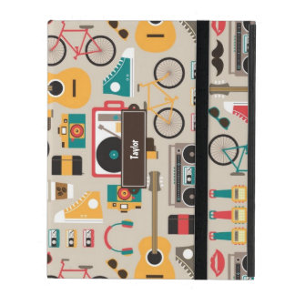Hipsterrific Hipster Things Pattern (Cinereous) iPad Case