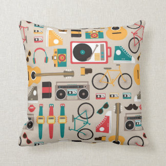 Hipsterrific Hipster Things Pattern (Cinereous) Throw Pillow