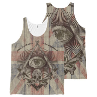 Hiram Abiff Freemason with British colors All-Over Print Tank Top