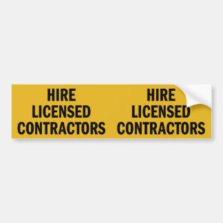 Hire Licensed Contractors double bumper sticker Car Bumper Sticker