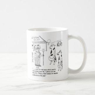 Hiring cows classic white coffee mug