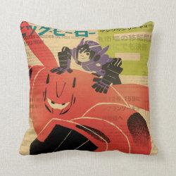 Cotton Throw Pillow with Big Hero 6 Propaganda Style design