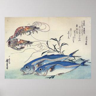 Hiroshige - caballo Mackeral y gambas Póster