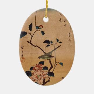 Hiroshige Camelia y curruca de Bush Ornamento De Navidad