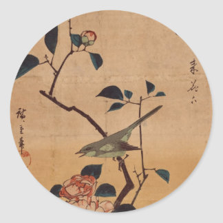 Hiroshige: Camellia and Bush Warbler Sticker