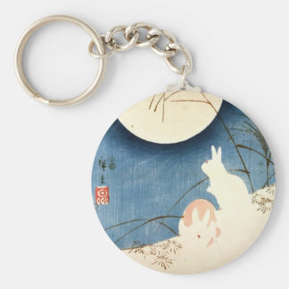 Hiroshige Dos conejos hierba de pampa Luna Llen Llaveros Personalizados