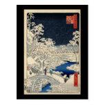 Hiroshige Drum bridge at Meguro Postcard