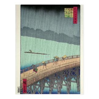 Hiroshige: Ducha súbita sobre el puente de Shin-Oh Tarjetas Postales