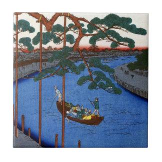 Hiroshige Five Pines, Onagi Canal Tile